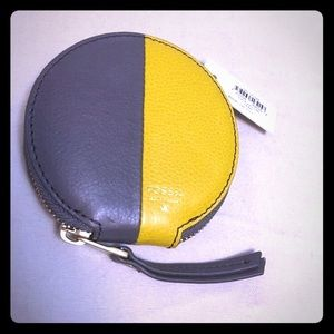 Fossil Sofia Zip Coin Purse Lead & Yellow Color